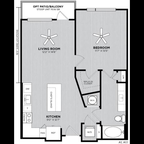 Alexan WP2 One Bedroom Floorplan A1