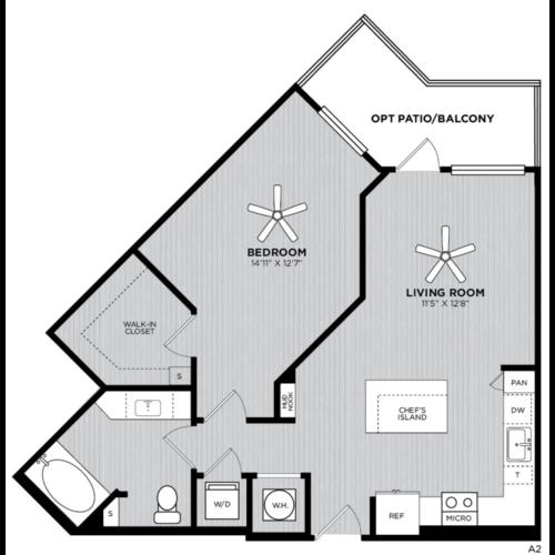 Alexan WP2 One Bedroom Floorplan A2