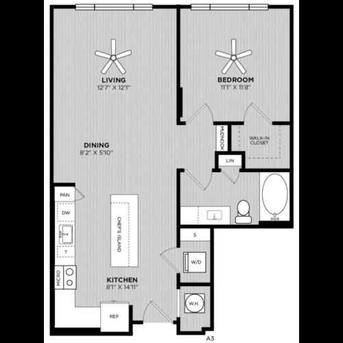 Alexan WP2 One Bedroom Floorplan A3