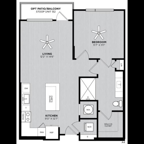 Alexan WP2 One Bedroom Floorplan A4
