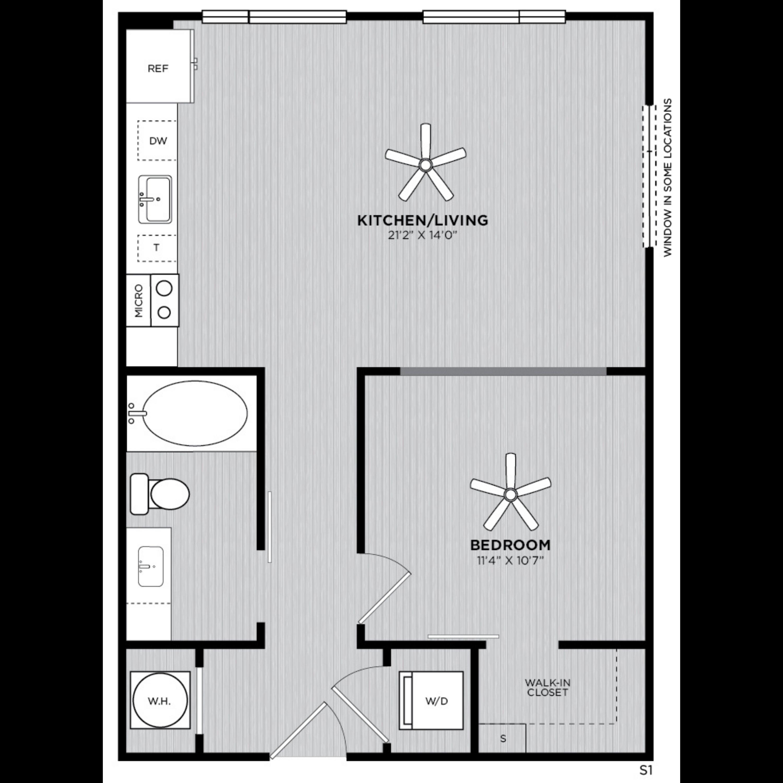 Alexan WP2 Studio One Bedroom Floorplan S1