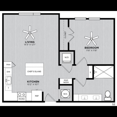 Alexan WP2 Studio One Bedroom Floorplan S2