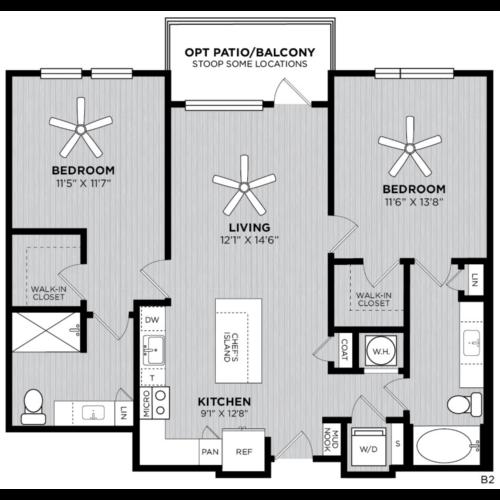 Alexan WP2 Studio Two Bedroom Floorplan B2
