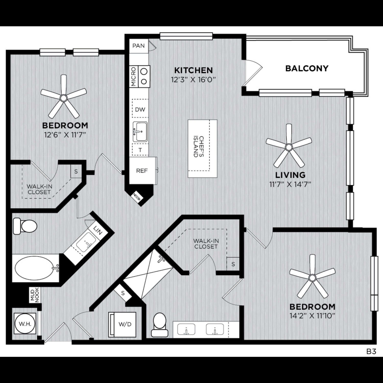 Alexan WP2 Studio Two Bedroom Floorplan B3