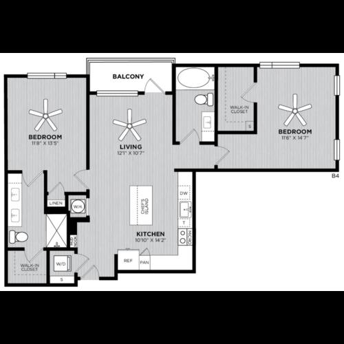 Alexan WP2 Studio Two Bedroom Floorplan B4