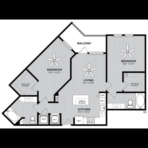 Alexan WP2 Studio Two Bedroom Floorplan B5
