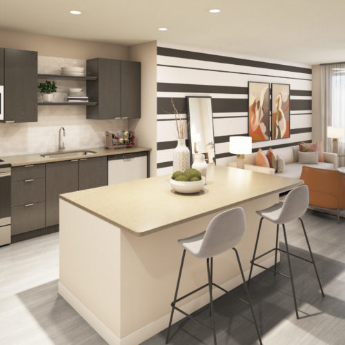 gourmet kitchen and living area - Find Bliss in Your Tech-Rich Home