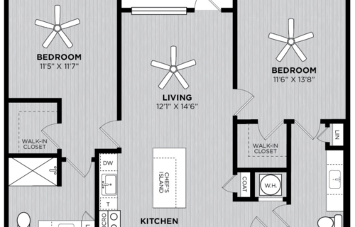 B2 Two Bed/Two Bath Floor Plan at Alexan WP2 - Beautiful Two-Bedroom Floor Plans